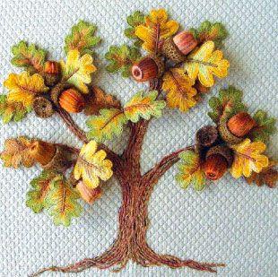 beautiful stitchery #acorns #oak