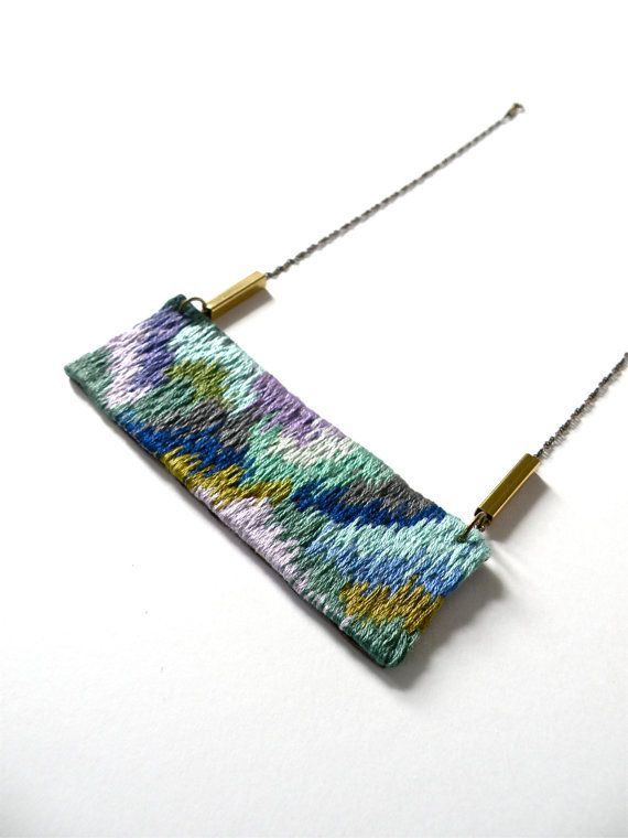 Hand embroidered Necklace / Green, Purple, Blue, Mint & Turquoise / Embroidered Pendant Statement Necklace