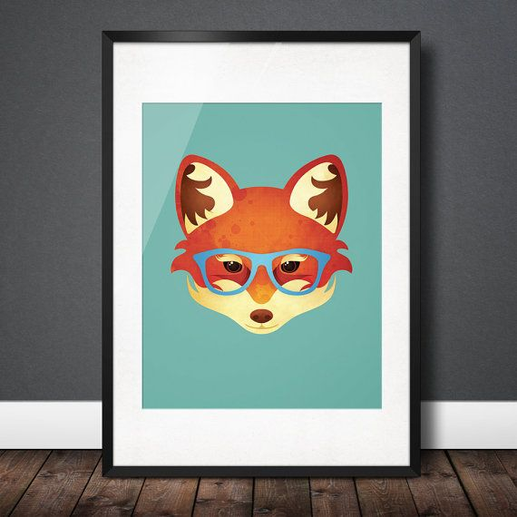 Hipster Fox  Fun & Funky Animal in Sky by CompassionCollective