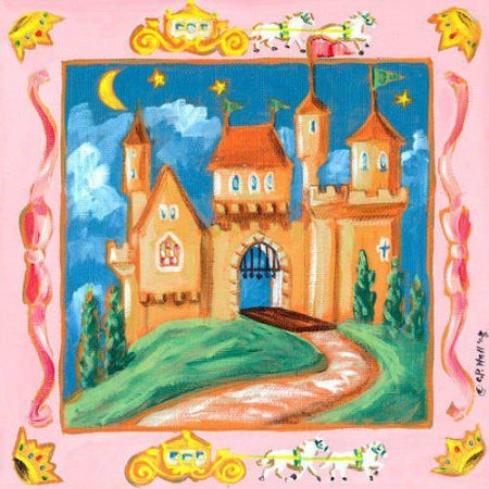 Oopsy Daisy - Storybook Castle Canvas Wall Art 14x14, Colleen Phelon Hall