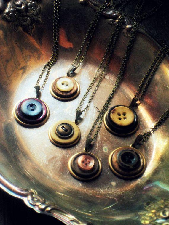 Parlor Pendant : Nip Edition. Button Pendant Necklace. by cloven