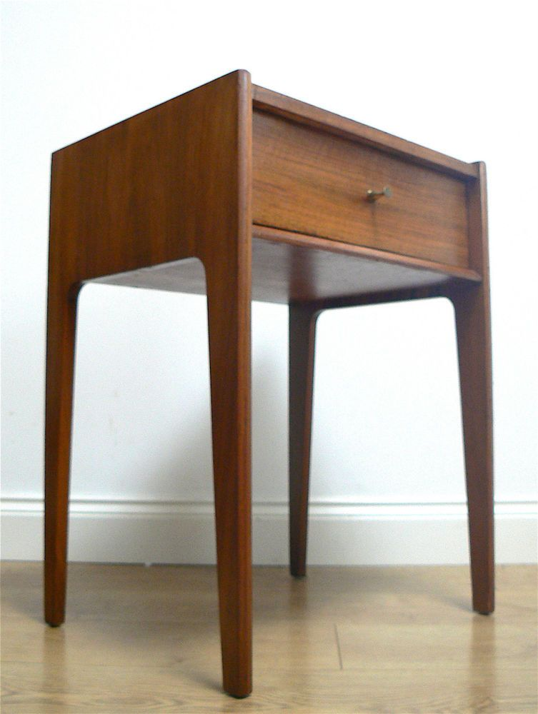 60s Younger Walnut Side Bedside Table Drawer 50s 70s Retro Vintage Mid Century