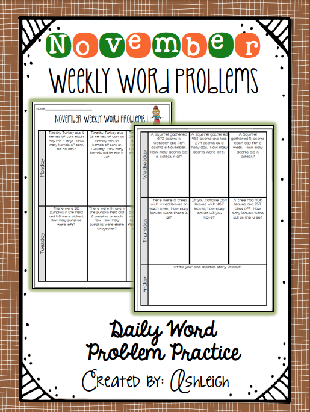 Free Weekly Word Problems For The Entire Month Of November
