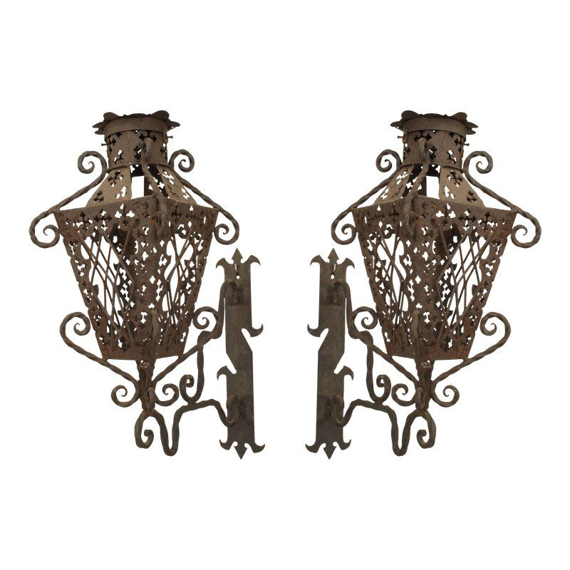 19th Century Italian Renaissance Style Wrought Iron Wall Lanterns A Pair Wall Lantern Iron Wall Wrought Iron