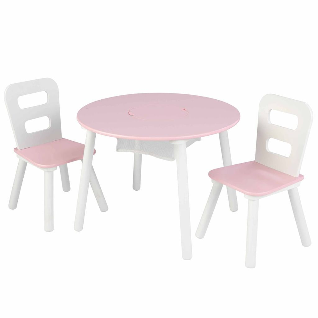 Photo of KidKraft Kindertisch mit 2 Stühlen Rosa Massivholz 26165