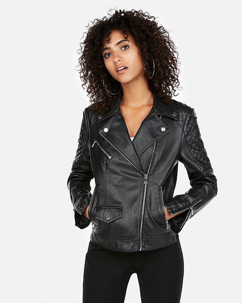 (minus The) Leather Quilted Moto Jacket Express (With