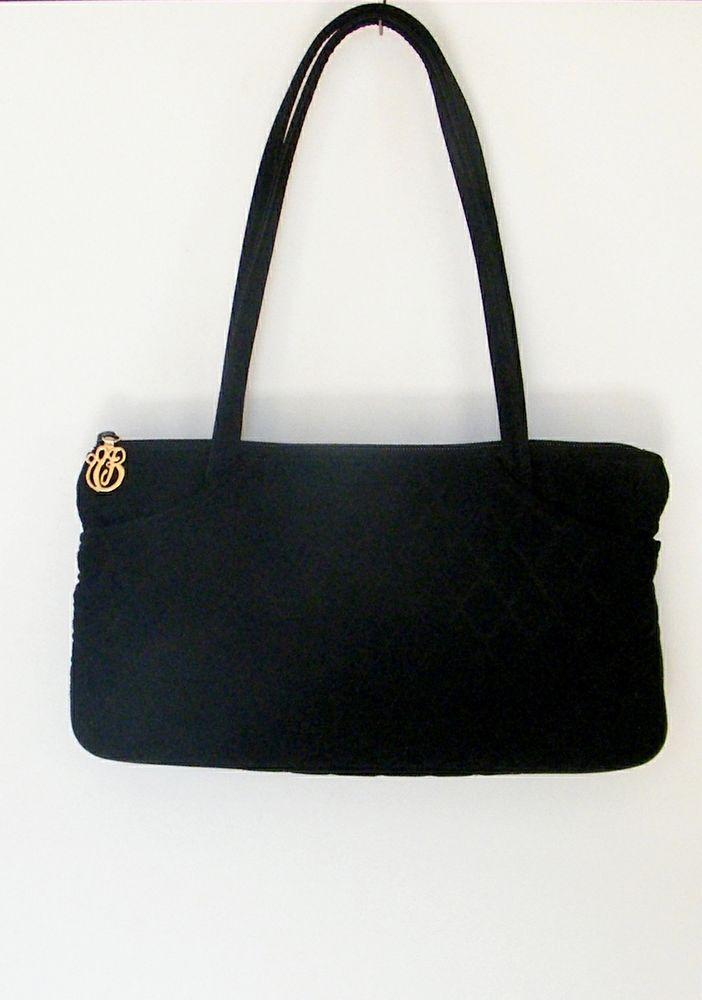 Vera Bradley Black Quilted Microfiber Purse Handbag Shoulder Bag #VeraBradley #ShoulderBag