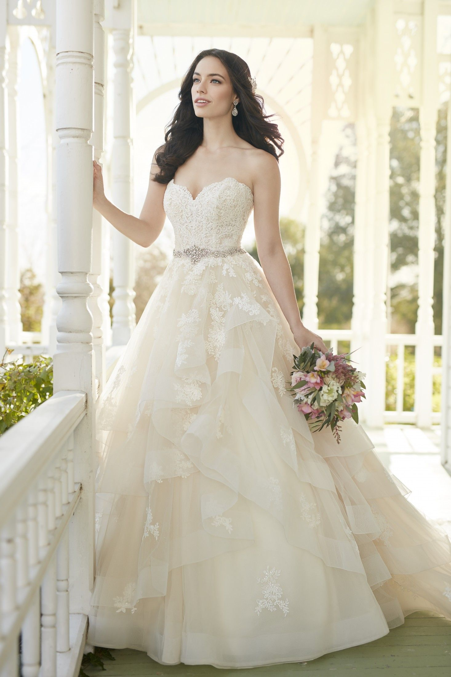 Back out wedding dresses  This vintagestyle strapless lace wedding gown from Martina Liana
