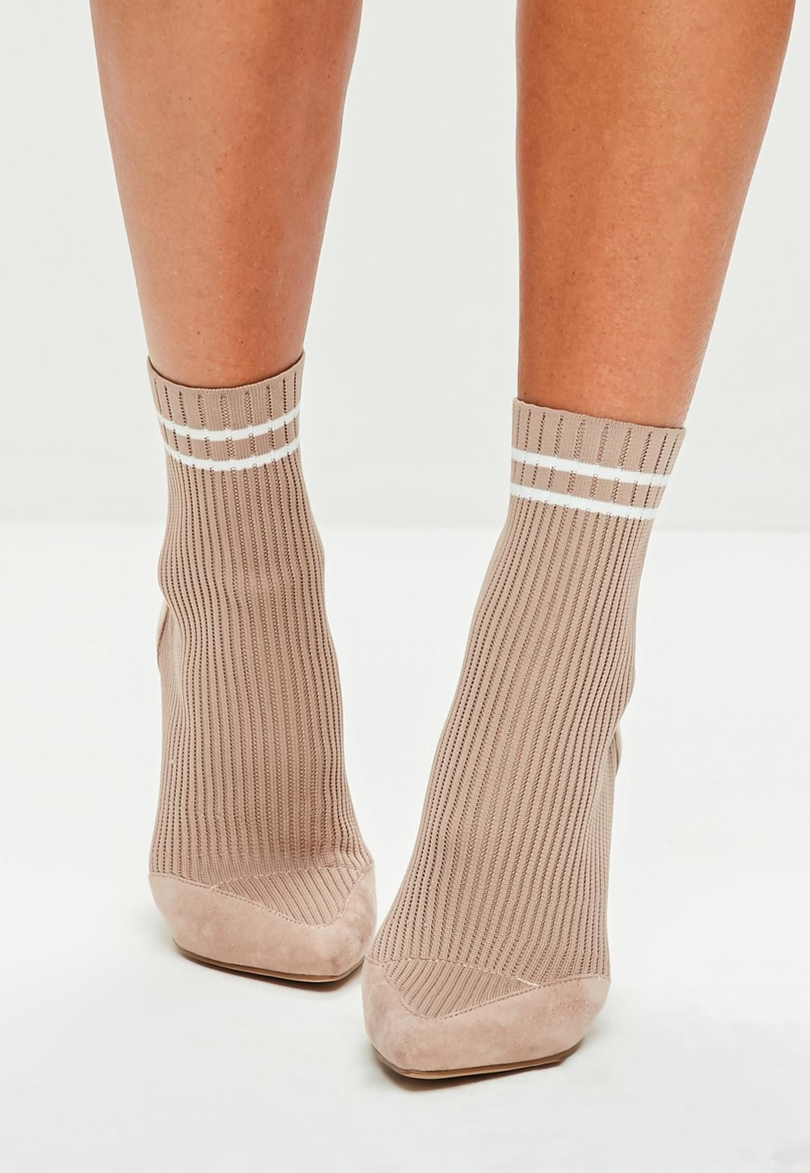 d8db100eecf1 Missguided - Nude Knitted Stripe Pointed Ankle Boots