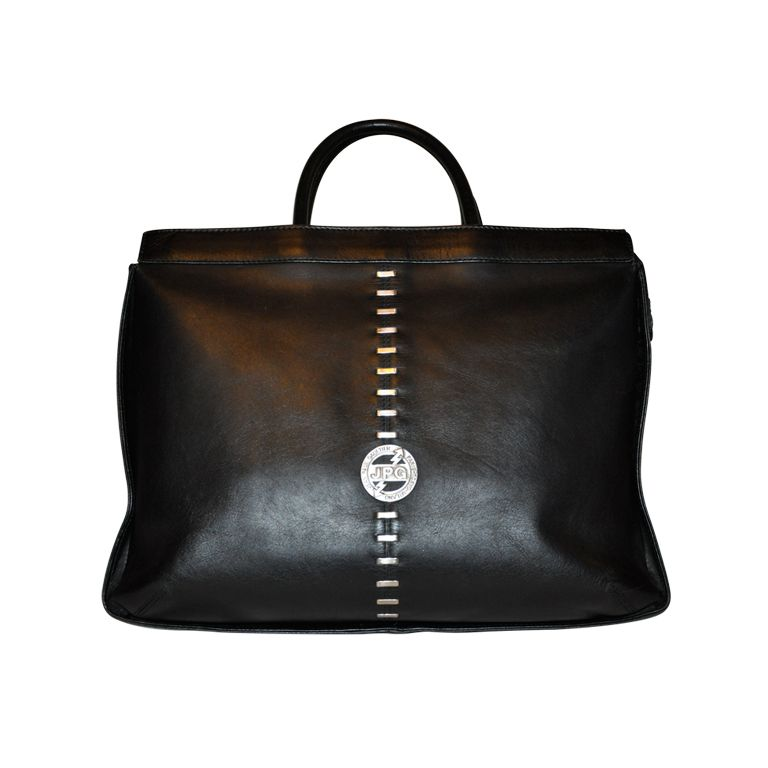 Jean Paul Gaultier Black Leather Tote Bag