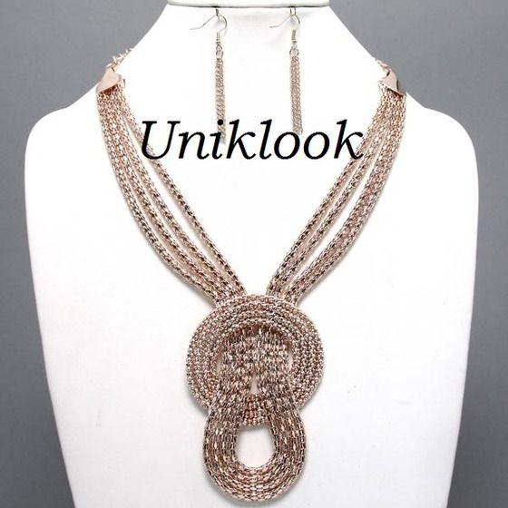 Elegant ROSE GOLD Mesh Chain Knot Layered Bib Fashion Jewelry