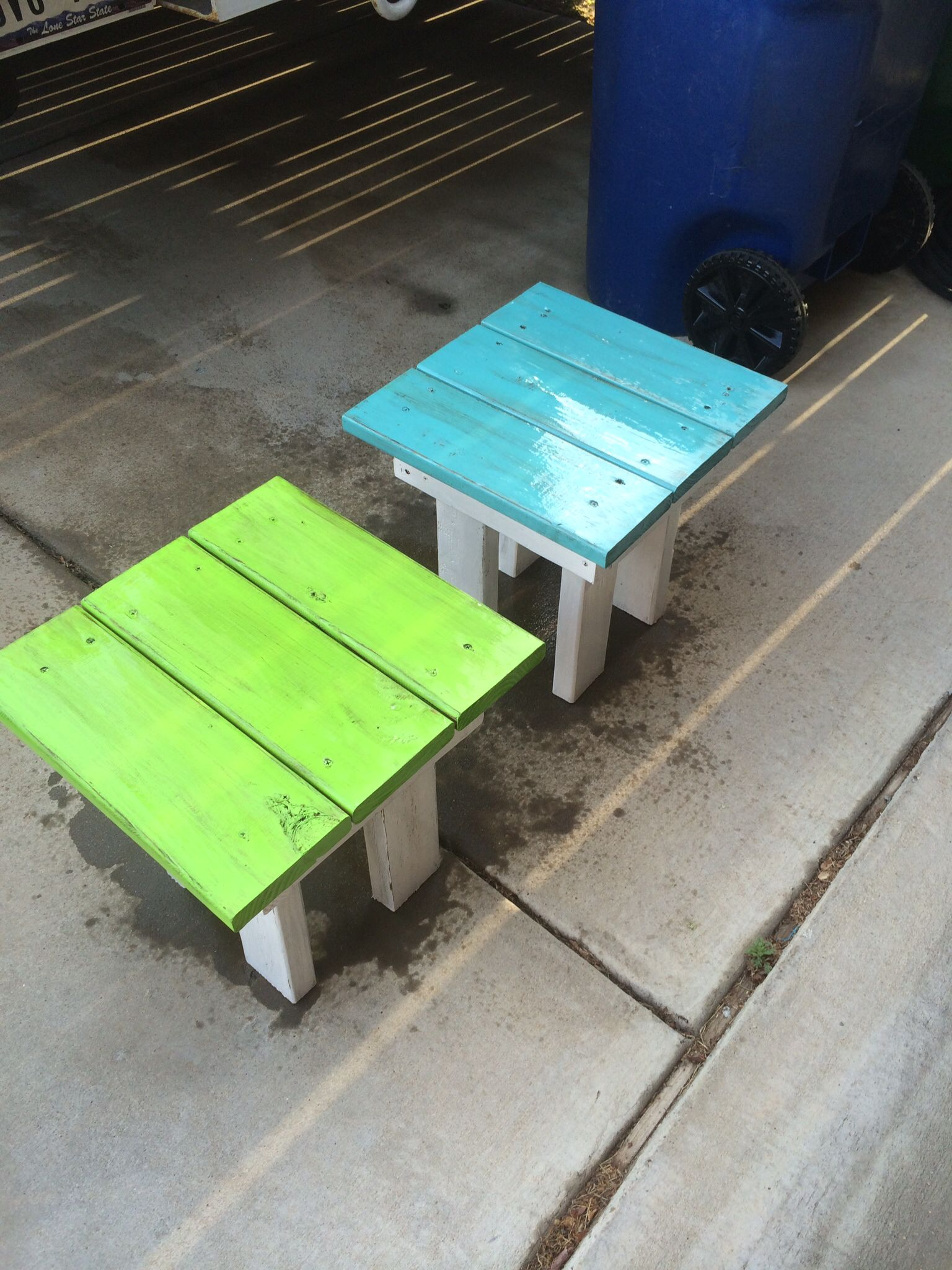 Small end tables for patio made out of 2x4 and left over deck