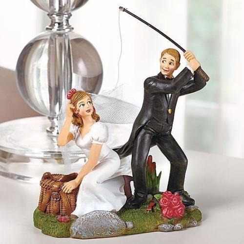Fishing Wedding Ideas: Humorous Wedding Fishing Cake Topper Figurine