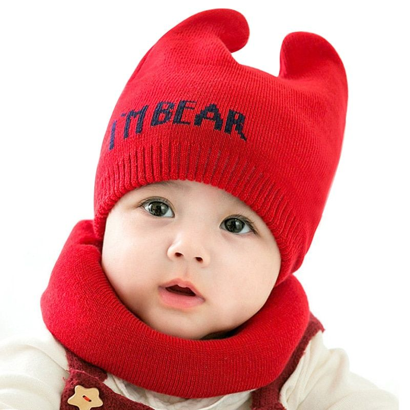 fde5f96e770b57 Winter Baby Hat Scarf for 3-12 Months Boys Girls Infant Toddler Cap Neck Warmer  Set Letters Style,High Quality Hats & Caps