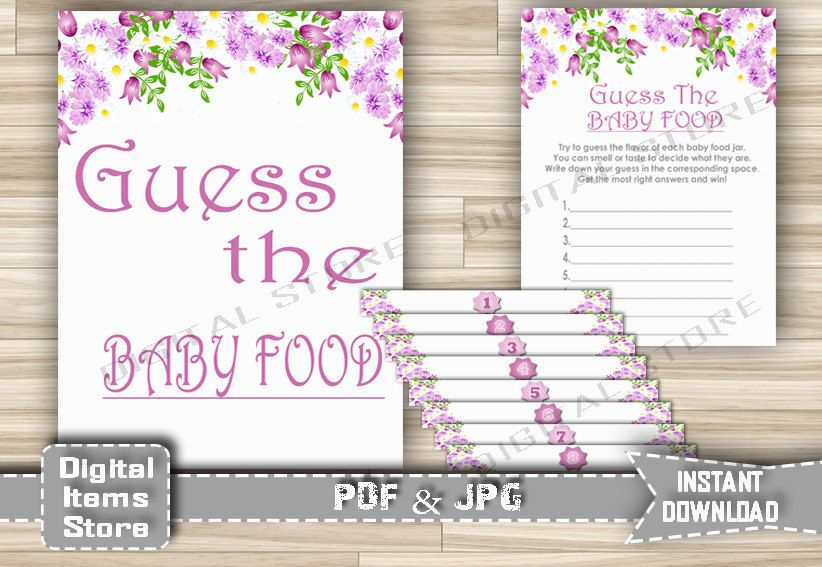 Printable Guess The Baby Food with Florl Purple Theme