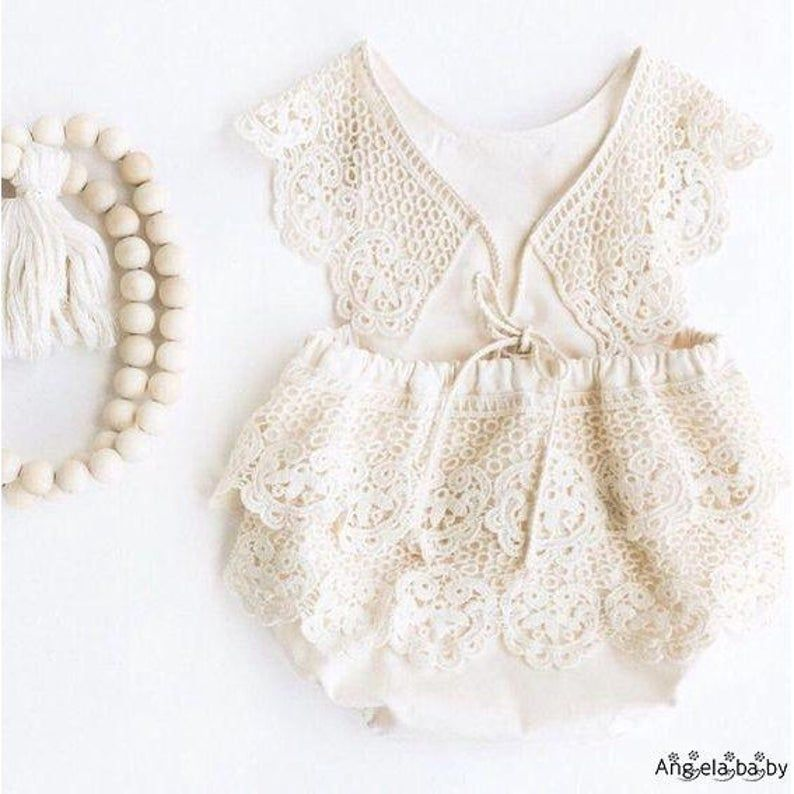 Newborn Lace Summer Lace Romper Prop Girl White Baby Girl Etsy In 2021 Baby Playsuit Girls Rompers Baby Girl Fashion