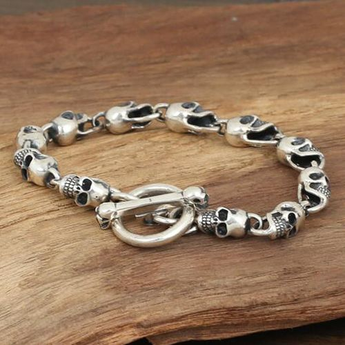 Men S Sterling Silver Skulls Chain Bracelet