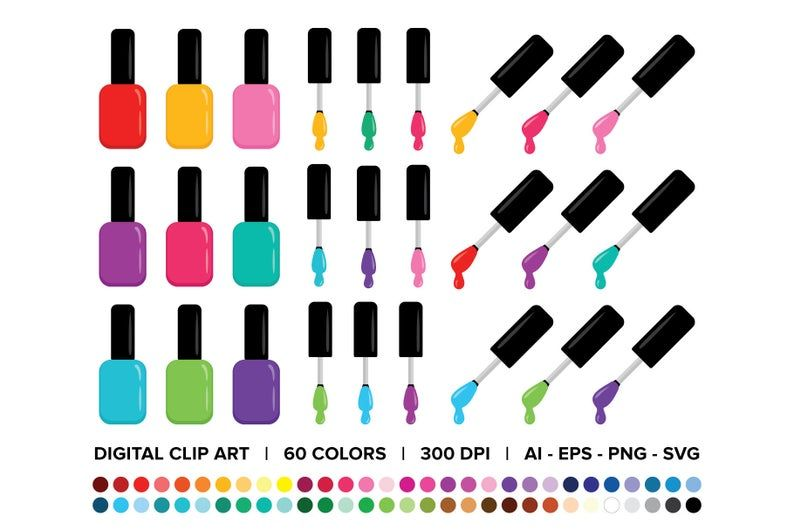 Nail Polish Bottle Brush Clip Art Set Png Svg Vector Etsy Nail Polish Bottles Clip Art Art Set