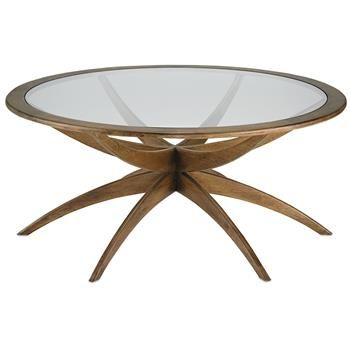 Henry Mid Century Weathered Walnut Round Coffee Table 42 Inch