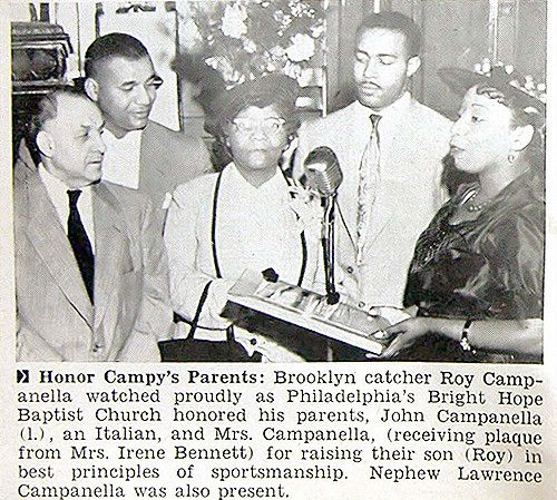 Baseball great, Roy Campanella with his parents, in 1953.