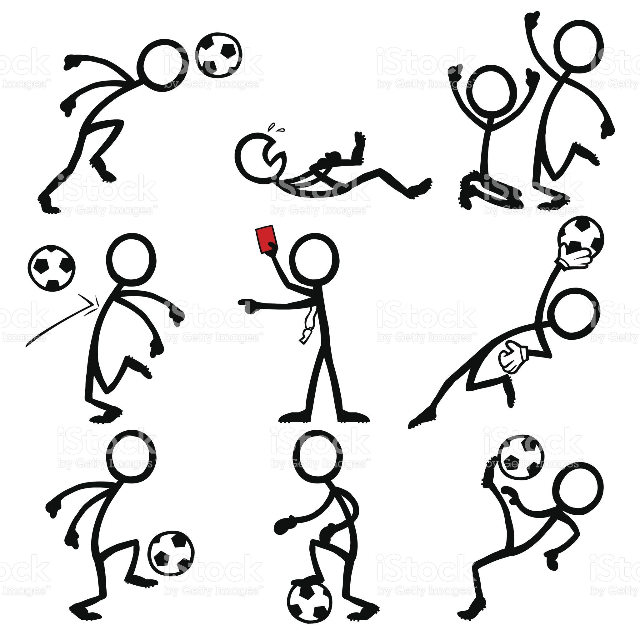 Stick Figure Peoples Playing Soccer Dibujos Garabateados Dibujos De Futbol Notas De Dibujo