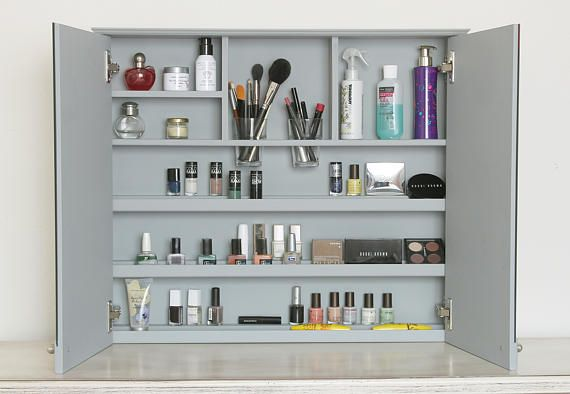 Wall Mounted Makeup Organizer No More Drawers With Cluttered Makeup And Or Makeup Bag Wall Mounted Makeup Organizer Makeup Organization Diy Makeup Organization