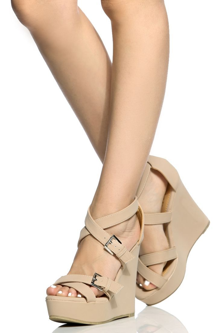 7172f9ba8f55f Nude Faux Nubuck Cross Strap Wedges   Cicihot Wedges Shoes Store Wedge Shoes