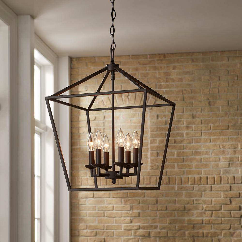 Home Decorators Collection Weyburn 6 Light Bronze Caged Chandelier 66201 The Home Depot In 2021 Farmhouse Light Fixtures Cage Chandelier Modern Farmhouse Lighting
