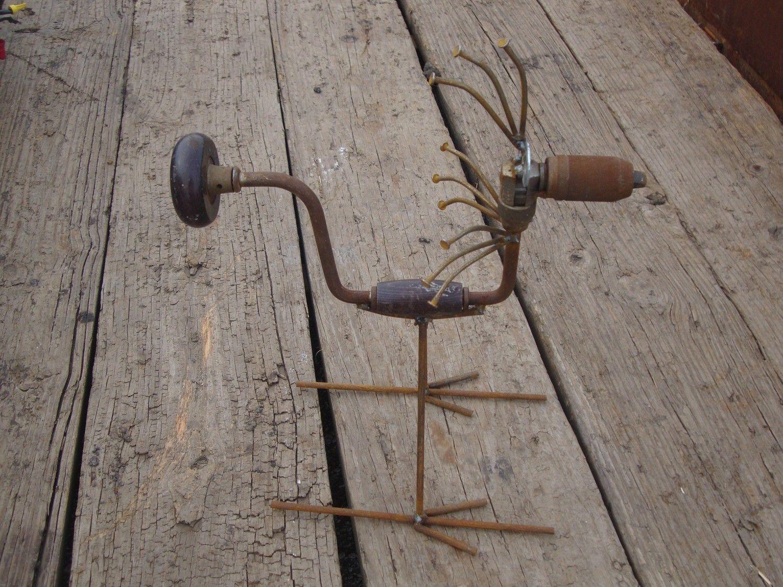 Hand drill bird recycled garden art by junkfx don - Sculpture metal jardin ...