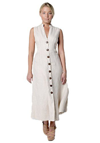 8e51479d9d8 Claudio Milano Womens 100 Linen Dress with Wooden Button and Moa Collar XL  Natural --