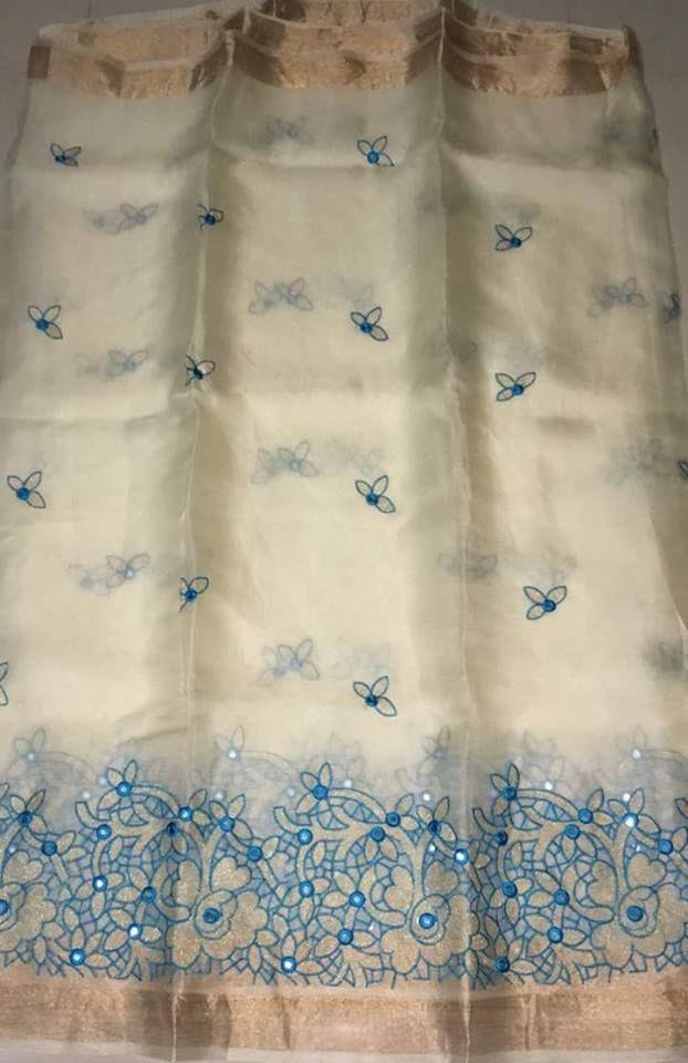 22e57345c272ab Organza Silk Sarees With Embroidery Work | Buy Online Sarees | Elegant  Fashion Wear