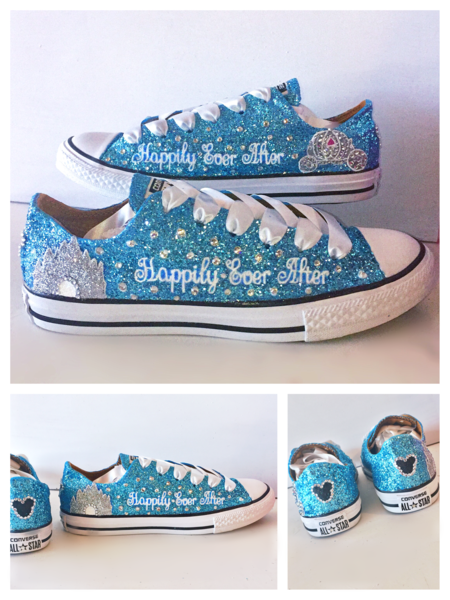 Womens Sparkly Glitter Bling Converse All Stars Baby Blue Cinderella  wedding bride shoes  weddingshoes 2c5a0894c7