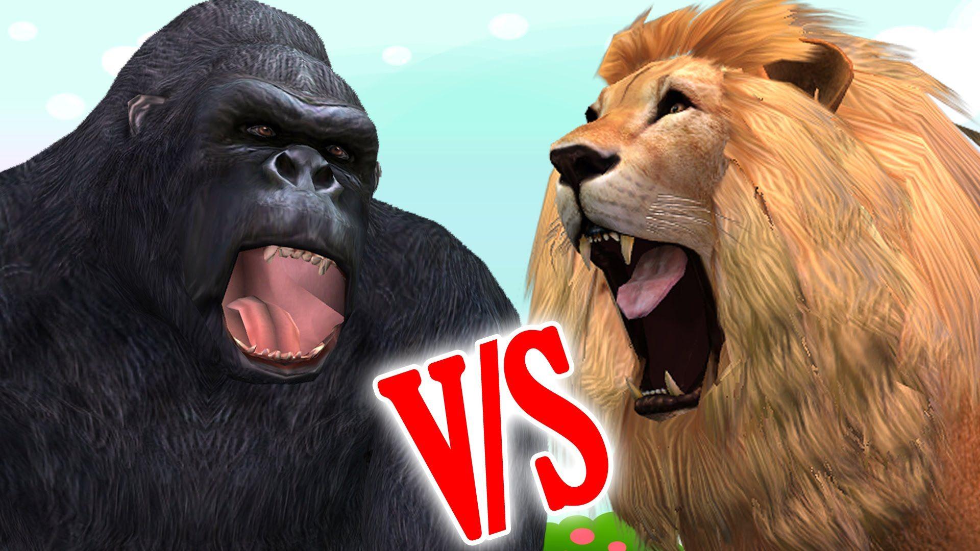 Lion Vs Gorilla Cartoon Finger Family Children Nursery ...