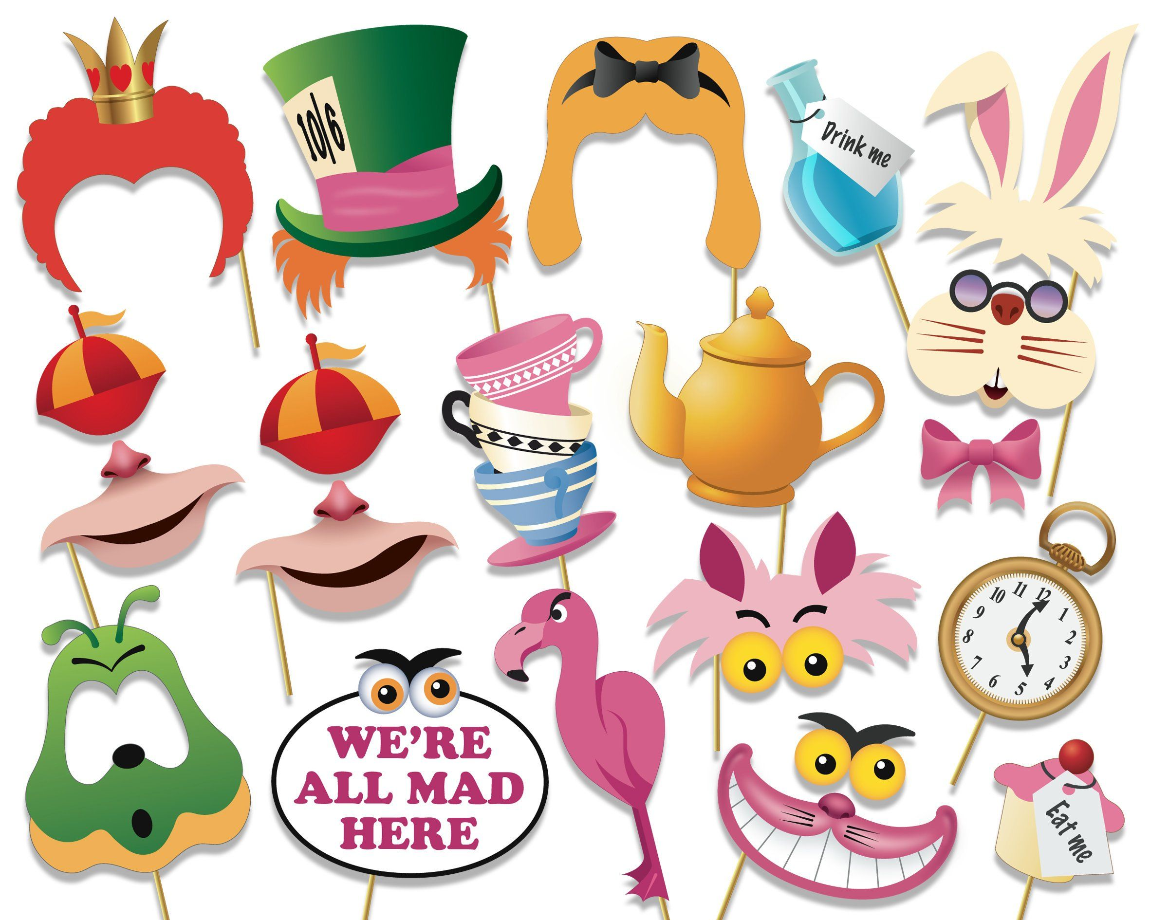 Alice In Wonderland Party Photo Booth Props Set Printable Pdf Mad Hatters Te Alice In Wonderland Decorations Alice In Wonderland Printables Mad Hatter Party