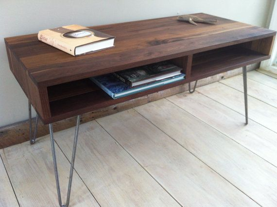 Mid Century Modern Coffee Table Black Walnut With Hairpin Legs Mid Century Modern Coffee Table Coffee Table Living Room Decor Fireplace