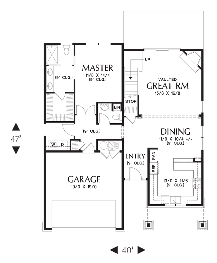 Image For Nehalem Craftsman Perfect For Newlyweds Or Empty Nesters Main Floor Plan Craftsman Style House Plans Floor Plans House Plans