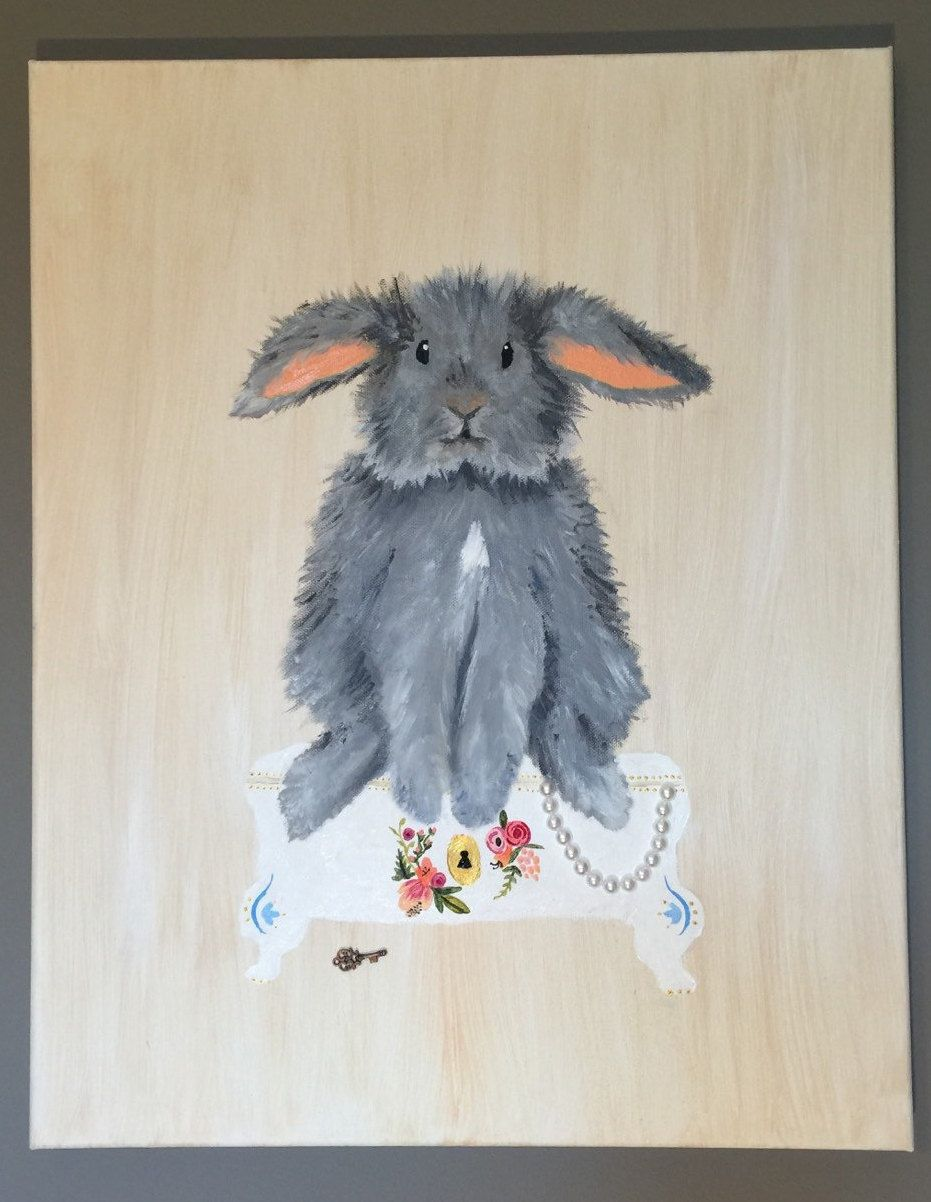 """VICTORIAN BUNNY"" 16X20"" Wrapped Canvas - Made to Order by WhimsicalOrigins on Etsy"