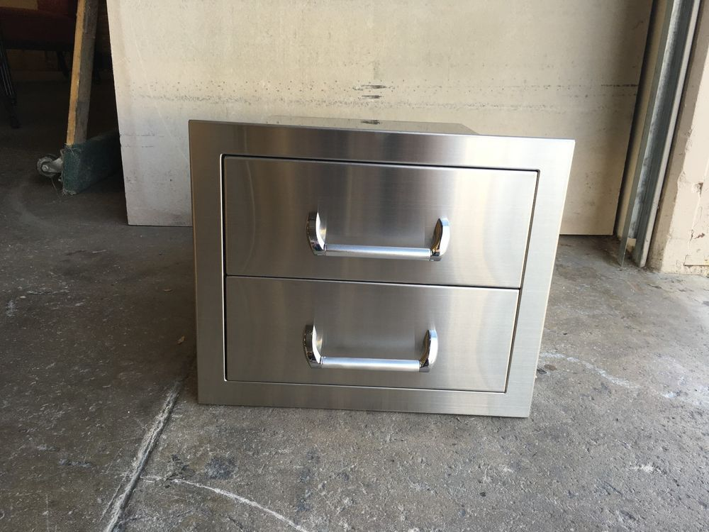 New Bbq Island Outdoor Kitchen Stainless Steel Double Storage Drawers Patiofurrniture Outdoor Kitchen Bbq Island Storage Drawers