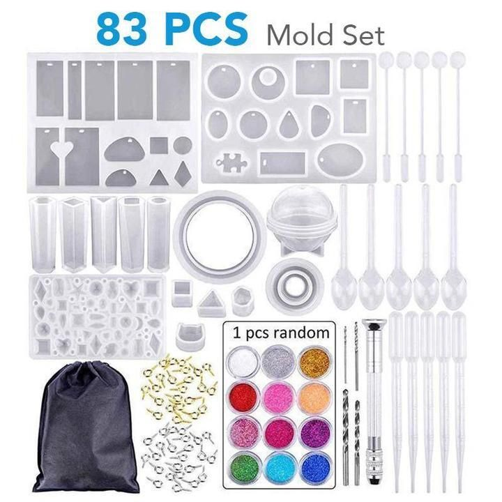 Diy Crystal Glue Jewelry Mold 83 Pcs Set In 2020 With Images