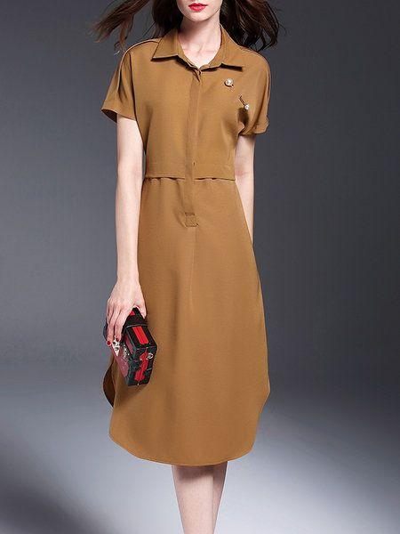 Shop Midi Dresses - Brown Cotton Simple Folds Midi Dress online. Discover unique…