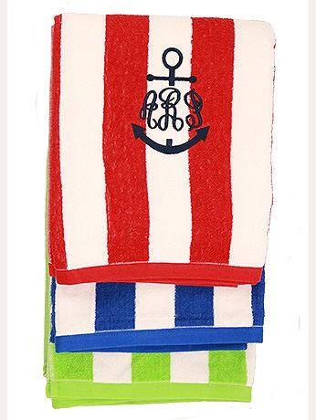 Lots Of Anchors Monogrammed Beach Towels Beach Monogram Red