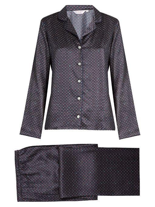 Derek Rose Brindisi Silk-Satin Pyjama Set. #derekrose #cloth #set