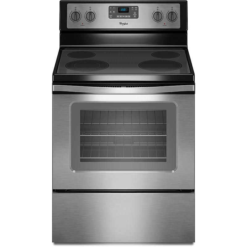 Whirlpool Wfe515s0es 5 3 Cu Ft Freestanding Electric Range Stainless Steel Freestanding Electric Ranges Electric Range Glass Cooktop