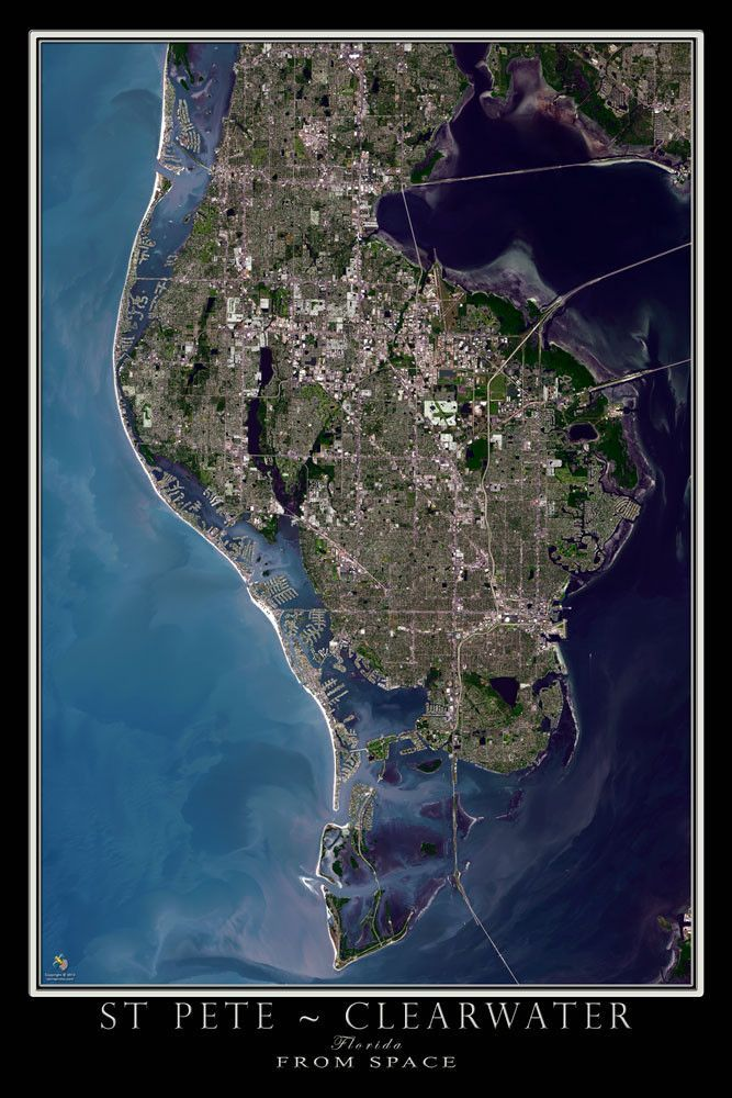 St Petersburg Clearwater Florida Satellite Poster Map - Satellite maps florida