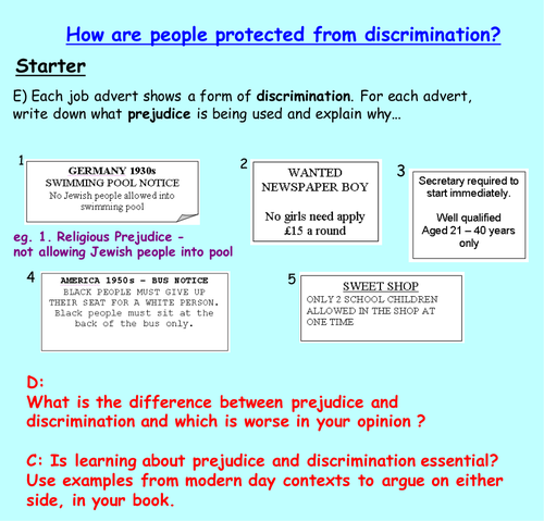 Discrimination: Equal Opportunities | Form Time and Whole School ...