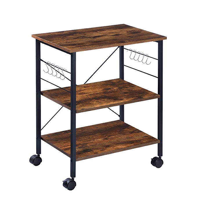 Kingso Kitchen Microwave Cart 3 Tier Kitchen Utility Cart Coffee