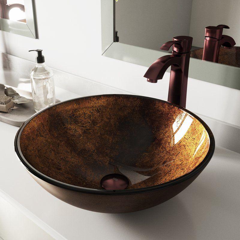 Russet Glass Circular Vessel Bathroom Sink With Faucet Glass Vessel Vessel Sink Bathroom Glass Vessel Sinks