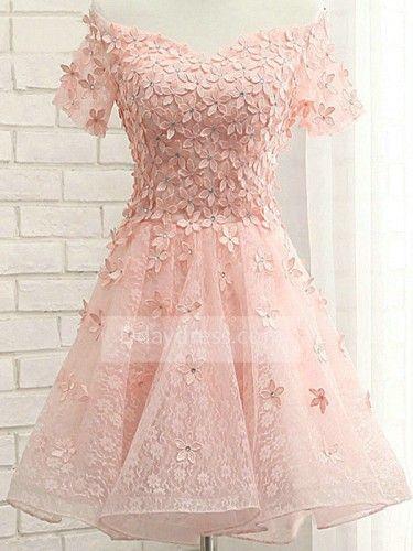 http://www.d-daydress.com/elegant-short-sleeve-off-the-shoulder-organza-flower-lace-up-homecoming-dress-itemhpi0031.html