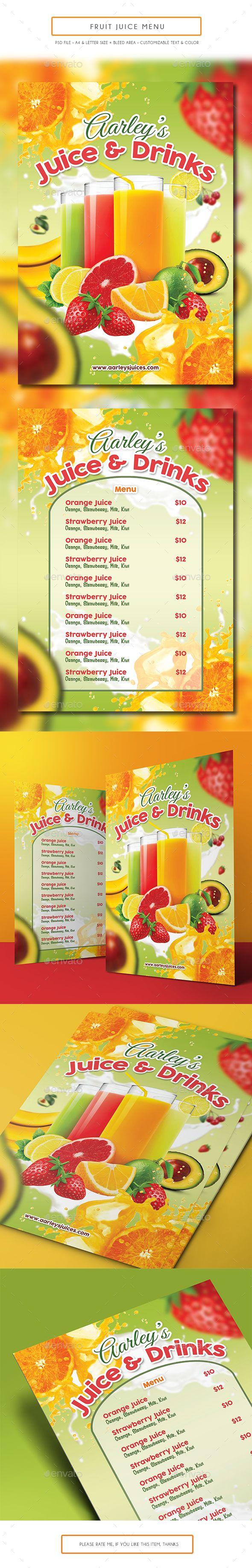 Fruit Juice Menu Juice Menu Fruit Juice Juice Bar Design
