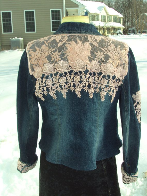 Hey, I found this really awesome Etsy listing at https://www.etsy.com/listing/179425972/romantic-pink-lace-upcycled-denim-jacket